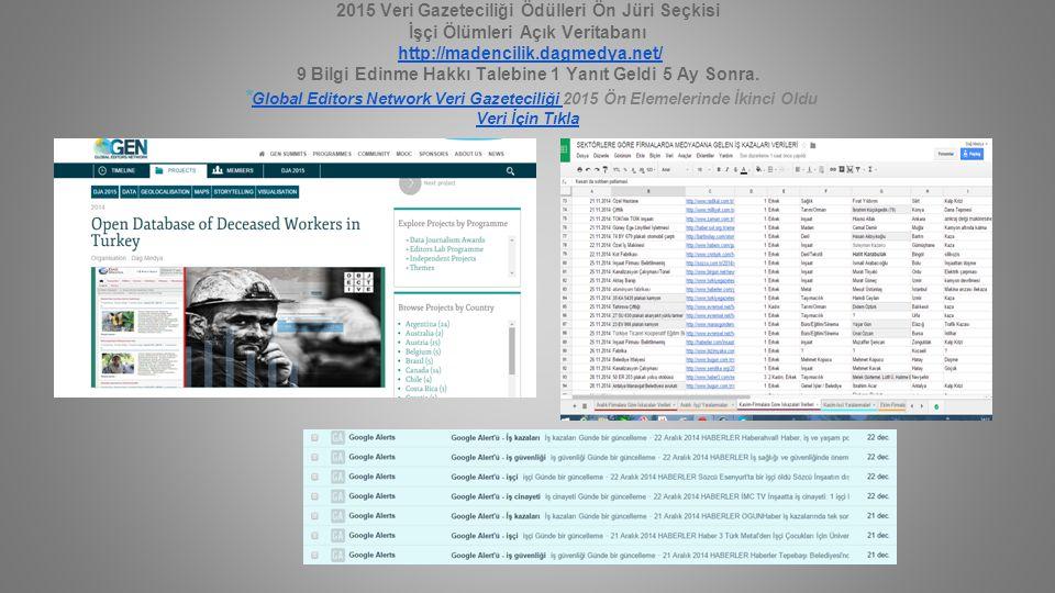 2015 Veri Gazeteciliği Ödülleri Ön Jüri Seçkisi İşçi Ölümleri Açık Veritabanı http://madencilik.dagmedya.net/ 9 Bilgi Edinme Hakkı Talebine 1 Yanıt Ge