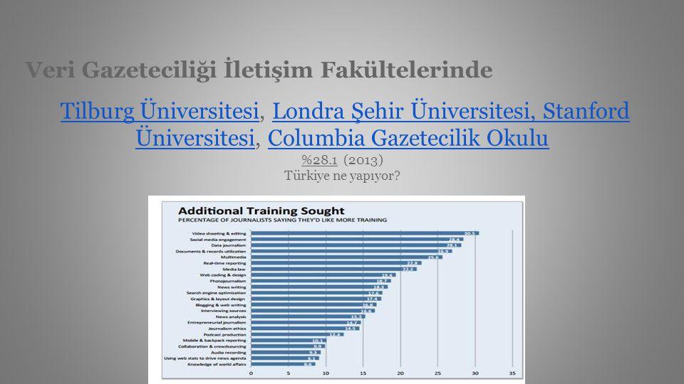 Veri Gazeteciliği İletişim Fakültelerinde Tilburg Üniversitesi, Londra Şehir Üniversitesi, Stanford Üniversitesi, Columbia Gazetecilik Okulu %28.1 (20
