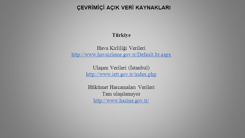 ÇEVRİMİÇİ AÇIK VERİ KAYNAKLARI Türkiye Hava Kirliliği Verileri http://www.havaizleme.gov.tr/Default.ltr.aspx http://www.havaizleme.gov.tr/Default.ltr.