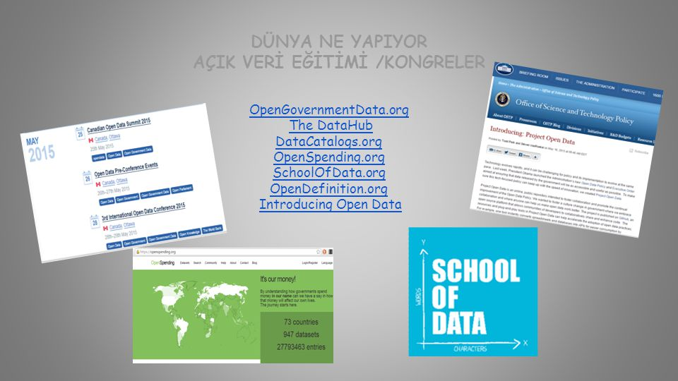 DÜNYA NE YAPIYOR AÇIK VERİ EĞİTİMİ /KONGRELER OpenGovernmentData.org The DataHub DataCatalogs.org OpenSpending.org SchoolOfData.org OpenDefinition.org