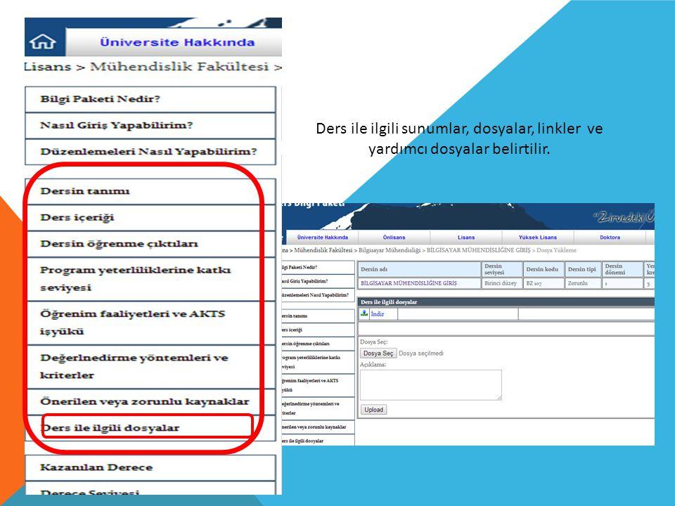 Ders ile ilgili sunumlar, dosyalar, linkler ve yardımcı dosyalar belirtilir.