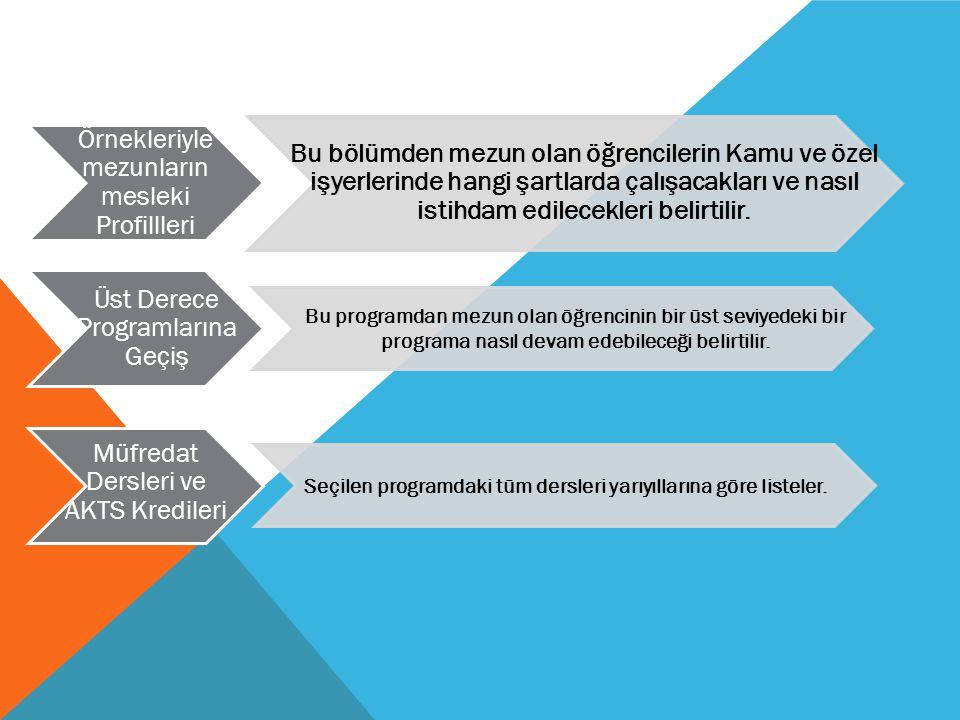 Örnekleriyle mezunların mesleki Profillleri Bu bölümden mezun olan öğrencilerin Kamu ve özel işyerlerinde hangi şartlarda çalışacakları ve nasıl istih
