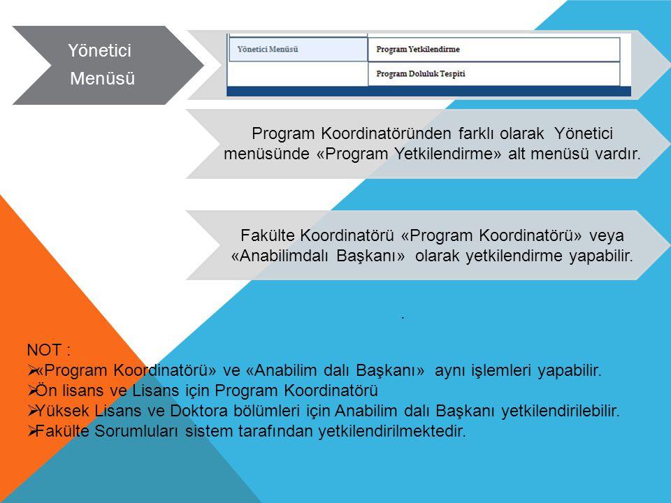 Program Koordinatöründen farklı olarak Yönetici menüsünde «Program Yetkilendirme» alt menüsü vardır. Yönetici Menüsü. Fakülte Koordinatörü «Program Ko