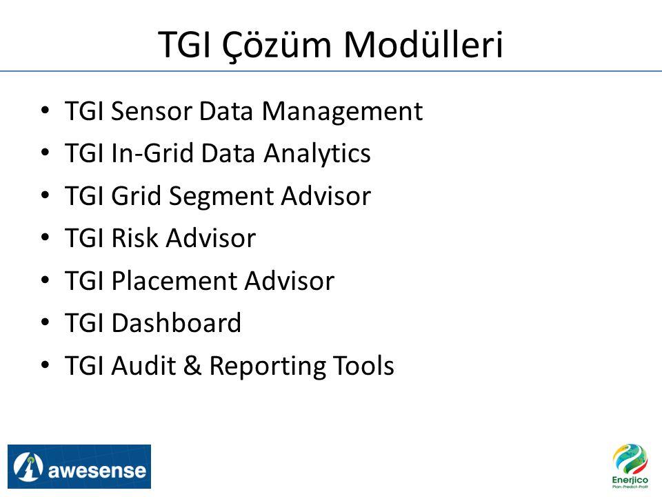 TGI Çözüm Modülleri TGI Sensor Data Management TGI In-Grid Data Analytics TGI Grid Segment Advisor TGI Risk Advisor TGI Placement Advisor TGI Dashboar