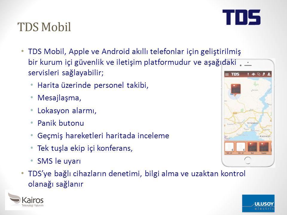 TDS Mobil TDS Mobil, Apple ve Android akıllı telefonlar için geliştirilmiş bir kurum içi güvenlik ve iletişim platformudur ve aşağıdaki servisleri sağ