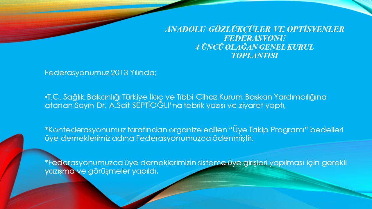 ANADOLU GÖZLÜKÇÜLER VE OPTİSYENLER FEDERASYONU 4 ÜNCÜ OLAĞAN GENEL KURUL TOPLANTISI Federasyonumuz 2013 Yılında; T.C. Sağlık Bakanlığı Türkiye İlaç ve