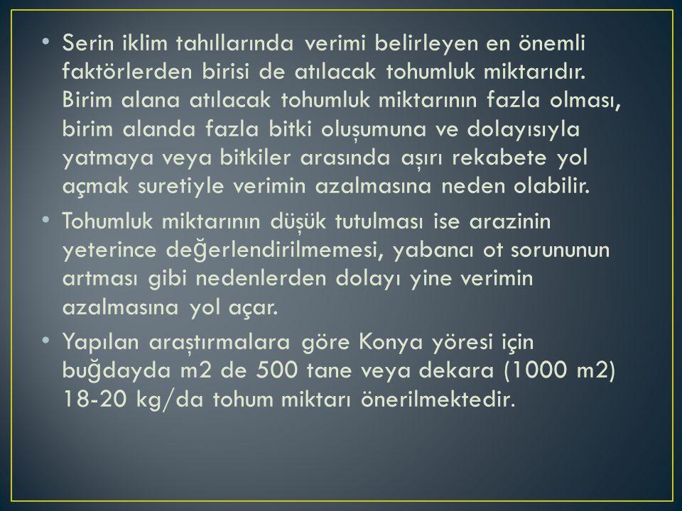 Konya'da önerilen en uygun sulama zamanları şunlardır: 1.Ekim zamanı toprakta yeterli nemin durumuna göre çıkışı garanti altına almak için sulama 2.Sapa kalkma dönemi (Nisan başı) 3.Başaklanma dönemi (Mayıs başı-ortası) ve 4.Dane dolum dönemidir (Haziran başı).