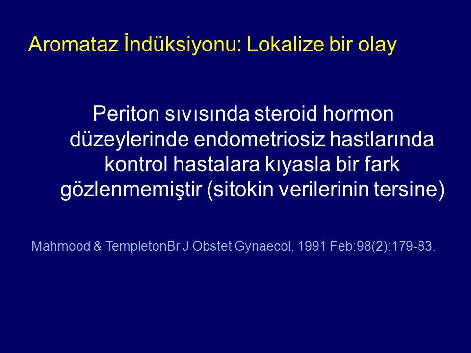 Periton sıvısında steroid hormon düzeylerinde endometriosiz hastlarında kontrol hastalara kıyasla bir fark gözlenmemiştir (sitokin verilerinin tersine