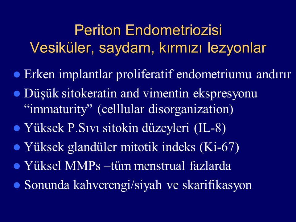 Periton Endometriozisi Vesiküler, saydam, kırmızı lezyonlar Erken implantlar proliferatif endometriumu andırır Düşük sitokeratin and vimentin ekspresy