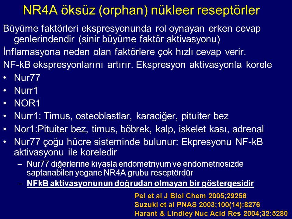 NR4A öksüz (orphan) nükleer reseptörler Büyüme faktörleri ekspresyonunda rol oynayan erken cevap genlerindendir (sinir büyüme faktör aktivasyonu) İnfl
