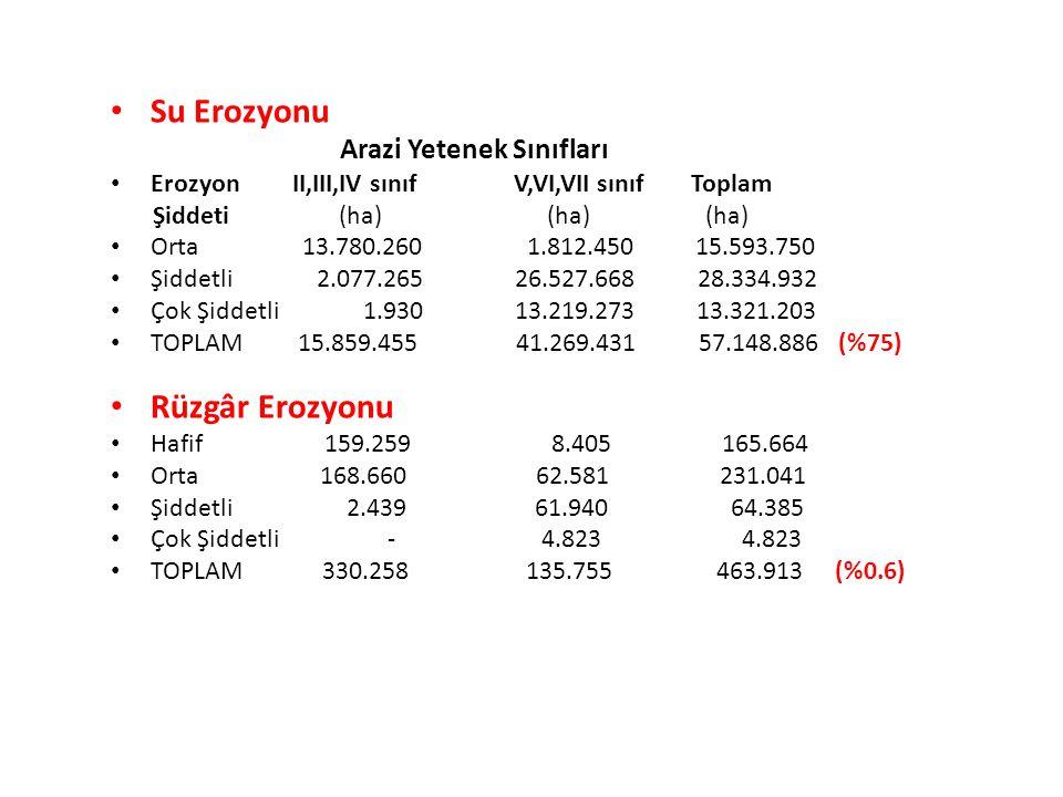 Su Erozyonu Arazi Yetenek Sınıfları Erozyon II,III,IV sınıf V,VI,VII sınıf Toplam Şiddeti (ha) (ha) (ha) Orta 13.780.260 1.812.450 15.593.750 Şiddetli
