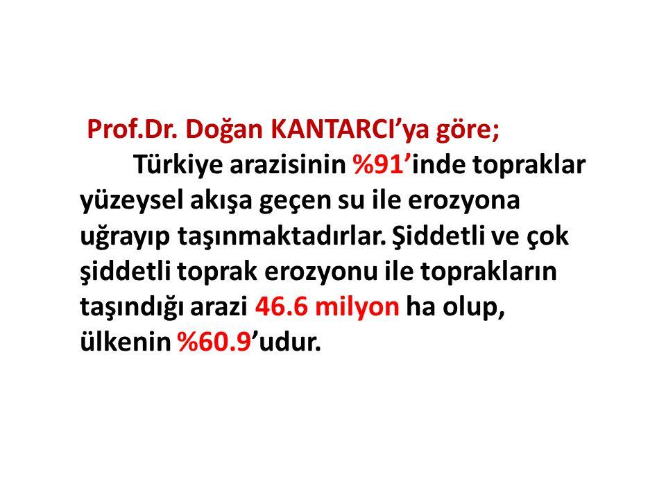 Prof.Dr. Doğan KANTARCI'ya göre; Türkiye arazisinin %91'inde topraklar yüzeysel akışa geçen su ile erozyona uğrayıp taşınmaktadırlar. Şiddetli ve çok