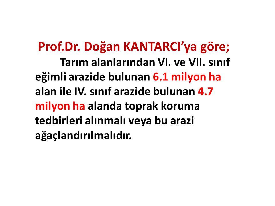 Prof.Dr. Doğan KANTARCI'ya göre; Tarım alanlarından VI. ve VII. sınıf eğimli arazide bulunan 6.1 milyon ha alan ile IV. sınıf arazide bulunan 4.7 mily