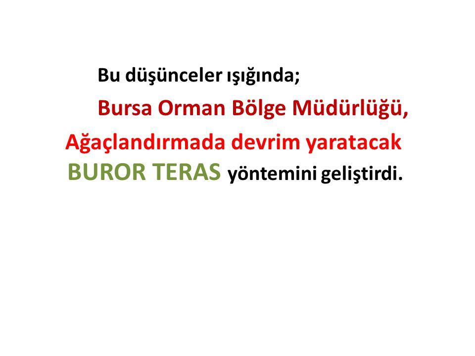 Bu düşünceler ışığında; Bursa Orman Bölge Müdürlüğü, Ağaçlandırmada devrim yaratacak BUROR TERAS yöntemini geliştirdi.