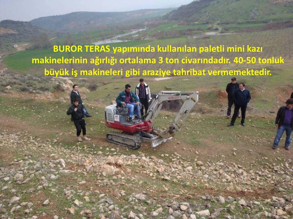 BUROR TERAS yapımında kullanılan paletli mini kazı makinelerinin ağırlığı ortalama 3 ton civarındadır. 40-50 tonluk büyük iş makineleri gibi araziye t