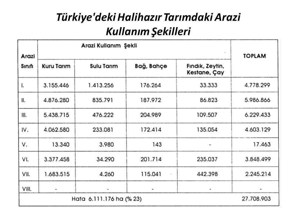 Türkiye'deki Halihazır Tarımdaki Arazi Kullanım Şekilleri