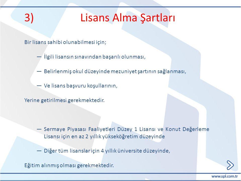 3) Lisans Alma Şartları Bir lisans sahibi olunabilmesi için; ―İlgili lisansın sınavından başarılı olunması, ―Belirlenmiş okul düzeyinde mezuniyet şart