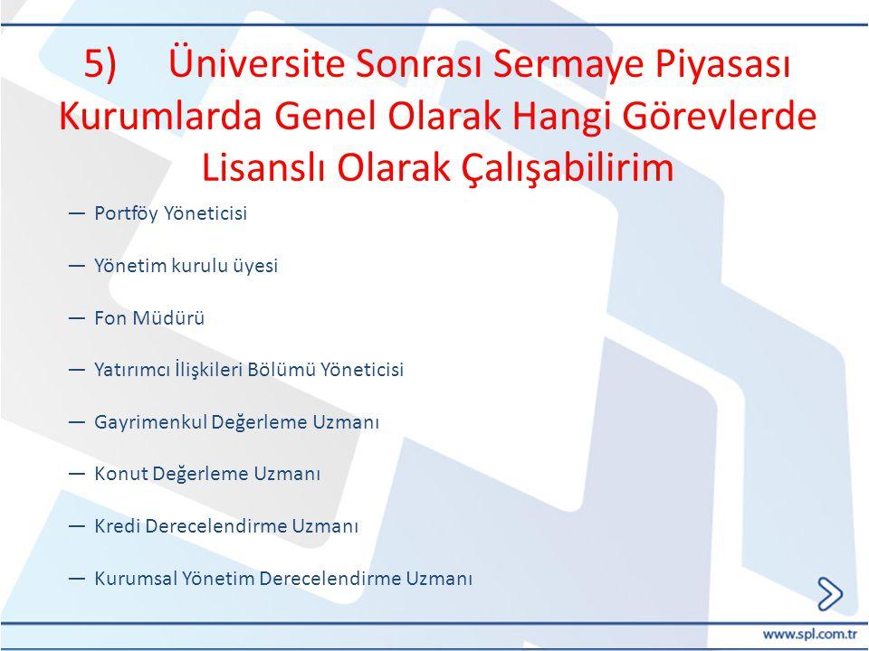 5) Üniversite Sonrası Sermaye Piyasası Kurumlarda Genel Olarak Hangi Görevlerde Lisanslı Olarak Çalışabilirim ―Portföy Yöneticisi ―Yönetim kurulu üyes