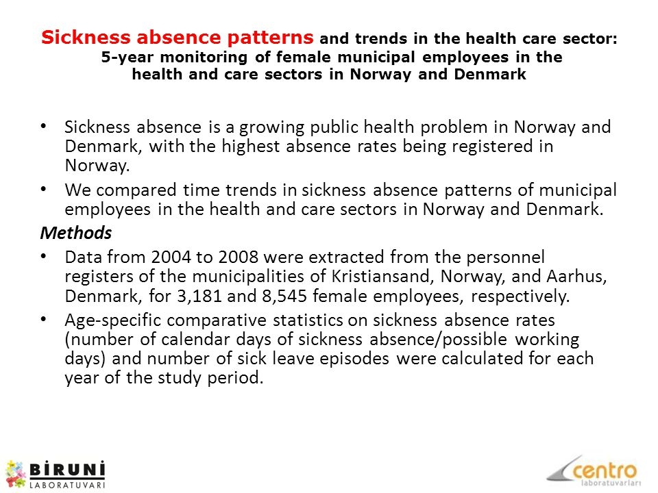 Sickness absence patterns and trends in the health care sector: 5-year monitoring of female municipal employees in the health and care sectors in Norway and Denmark Sickness absence is a growing public health problem in Norway and Denmark, with the highest absence rates being registered in Norway.