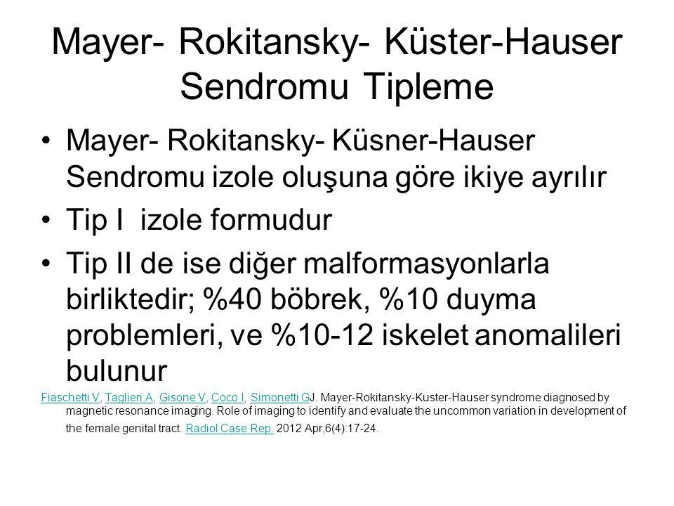 Mayer- Rokitansky- Küster-Hauser Sendromu Tipleme Mayer- Rokitansky- Küsner-Hauser Sendromu izole oluşuna göre ikiye ayrılır Tip I izole formudur Tip