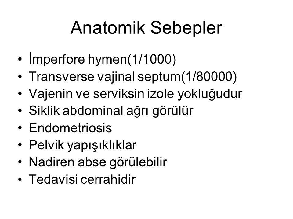 Anatomik Sebepler İmperfore hymen(1/1000) Transverse vajinal septum(1/80000) Vajenin ve serviksin izole yokluğudur Siklik abdominal ağrı görülür Endom