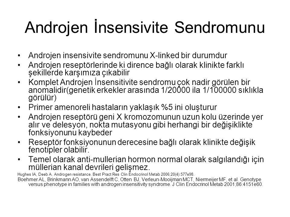 Androjen İnsensivite Sendromunu Androjen insensivite sendromunu X-linked bir durumdur Androjen reseptörlerinde ki dirence bağlı olarak klinikte farklı