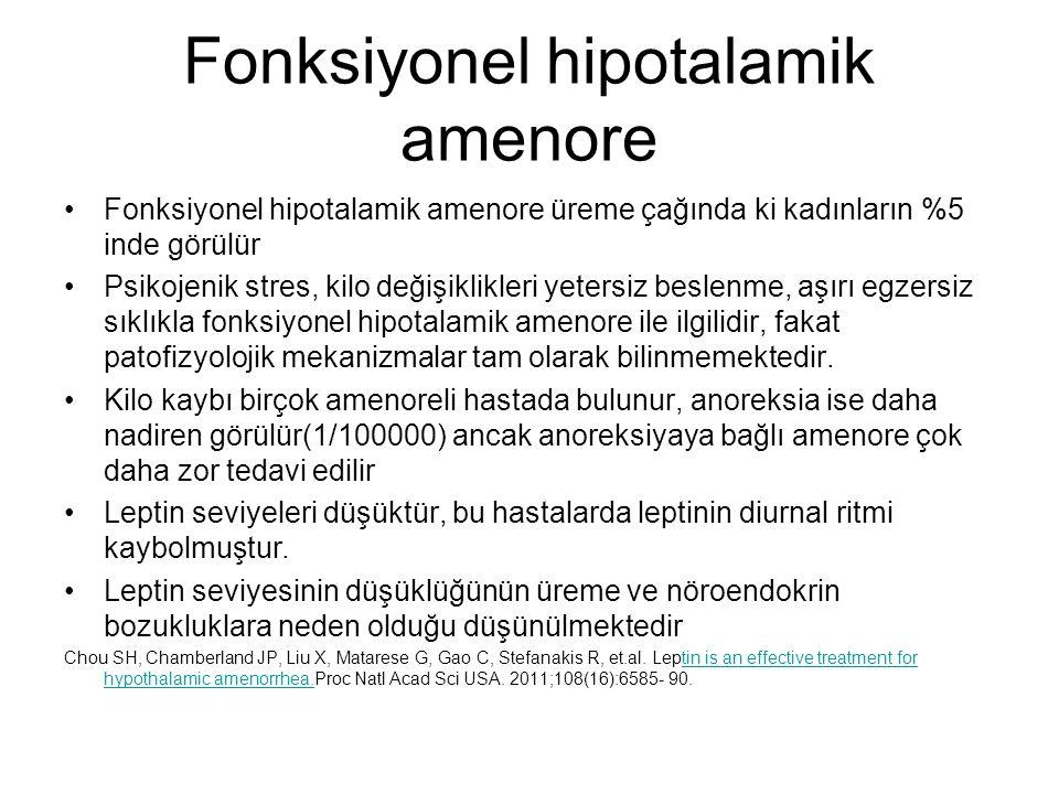 Fonksiyonel hipotalamik amenore Fonksiyonel hipotalamik amenore üreme çağında ki kadınların %5 inde görülür Psikojenik stres, kilo değişiklikleri yete