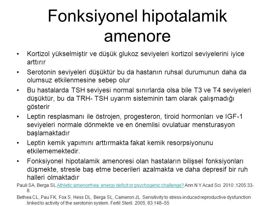 Fonksiyonel hipotalamik amenore Kortizol yükselmiştir ve düşük glukoz seviyeleri kortizol seviyelerini iyice arttırır Serotonin seviyeleri düşüktür bu