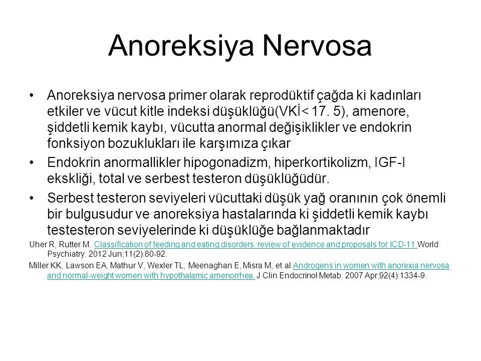 Anoreksiya Nervosa Anoreksiya nervosa primer olarak reprodüktif çağda ki kadınları etkiler ve vücut kitle indeksi düşüklüğü(VKİ< 17. 5), amenore, şidd