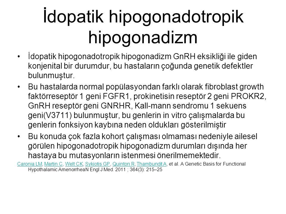 İdopatik hipogonadotropik hipogonadizm İdopatik hipogonadotropik hipogonadizm GnRH eksikliği ile giden konjenital bir durumdur, bu hastaların çoğunda
