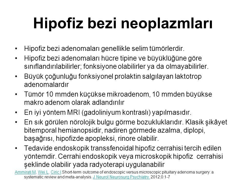 Hipofiz bezi neoplazmları Hipofiz bezi adenomaları genellikle selim tümörlerdir. Hipofiz bezi adenomaları hücre tipine ve büyüklüğüne göre sınıflandır