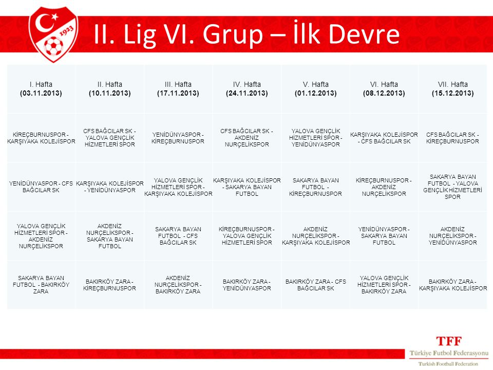 II. Lig VI.
