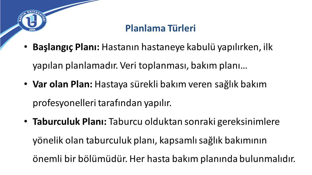 Planlama Türleri Başlangıç Planı: Hastanın hastaneye kabulü yapılırken, ilk yapılan planlamadır. Veri toplanması, bakım planı… Var olan Plan: Hastaya