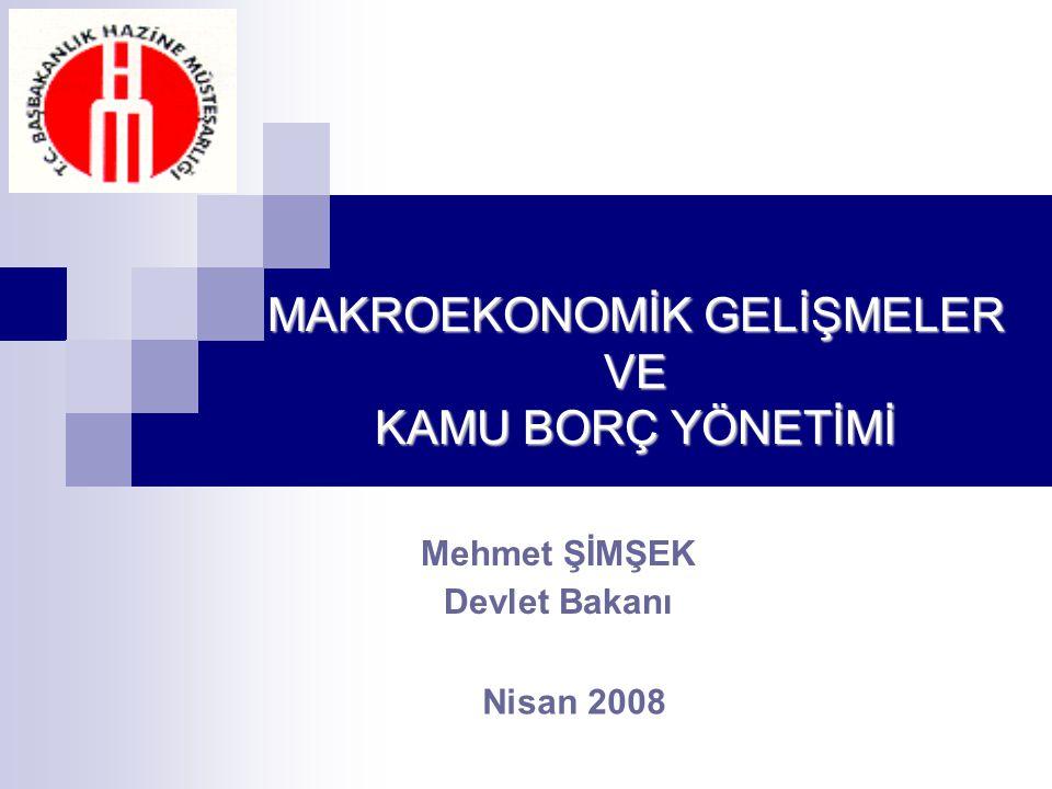 Mehmet ŞİMŞEK Devlet Bakanı Nisan 2008 MAKROEKONOMİK GELİŞMELER VE KAMU BORÇ YÖNETİMİ