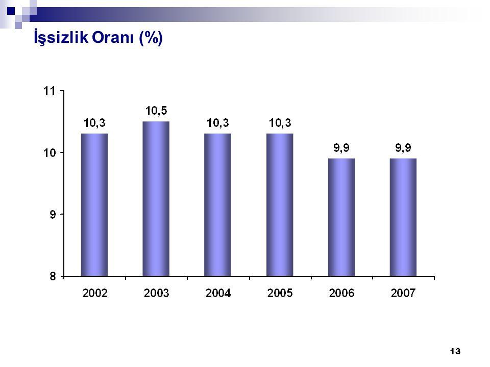 13 İşsizlik Oranı (%)