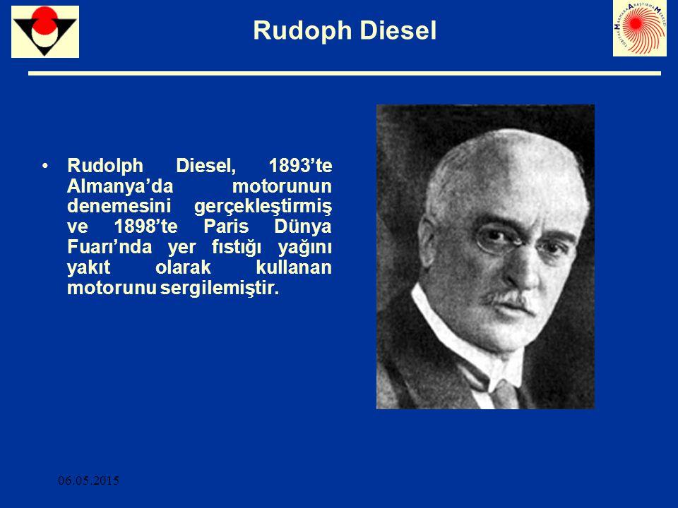 06.05.2015 Rudoph Diesel R.Diesel 1911'de Bitkisel yağların motor yakıtı olarak kullanımının ülkelerin tarımının gelişiminin ciddi bir katkısı olacağını ifade etmiş ve 1912'de Bitkisel yağların motorlarda kullanımı günümüzde önemsiz görünebilir, ancak bitkisel yağlar zamanla petrol ve kömür katranı kadar önem kazanacak demiştir.