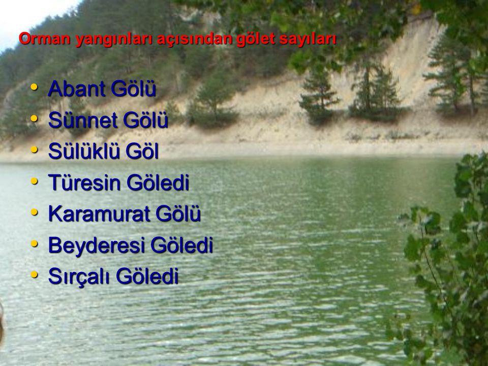 Orman yangınları açısından gölet sayıları Abant Gölü Abant Gölü Sünnet Gölü Sünnet Gölü Sülüklü Göl Sülüklü Göl Türesin Göledi Türesin Göledi Karamura