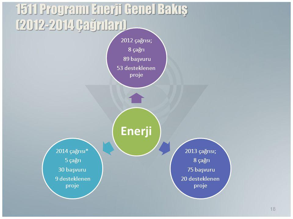 Enerji 2012 çağrısı; 8 çağrı 89 başvuru 53 desteklenen proje 2013 çağrısı; 8 çağrı 75 başvuru 20 desteklenen proje 2014 çağrısı* 5 çağrı 30 başvuru 9 desteklenen proje 18 1511 Programı Enerji Genel Bakış (2012-2014 Çağrıları)