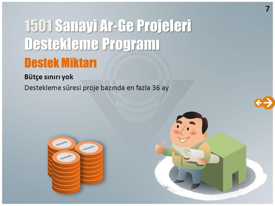 Destek Miktarı Bütçe sınırı yok Destekleme süresi proje bazında en fazla 36 ay 1501 Sanayi Ar-Ge Projeleri Destekleme Programı 7