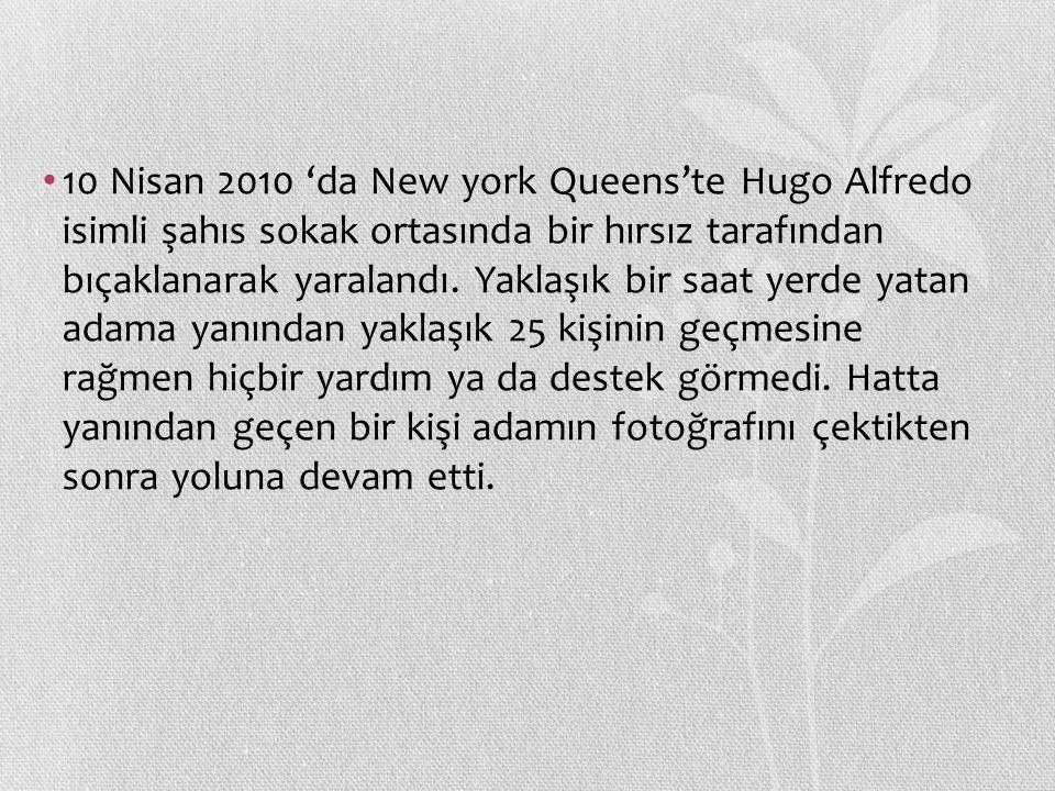 10 Nisan 2010 'da New york Queens'te Hugo Alfredo isimli şahıs sokak ortasında bir hırsız tarafından bıçaklanarak yaralandı. Yaklaşık bir saat yerde y