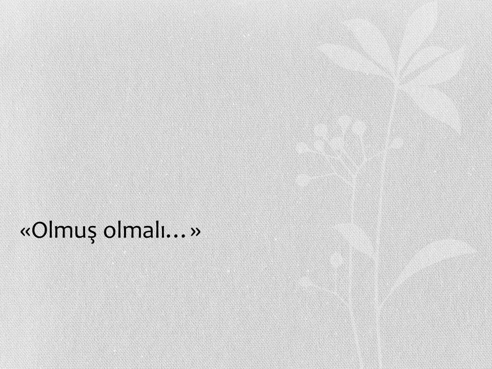 «Olmuş olmalı…»