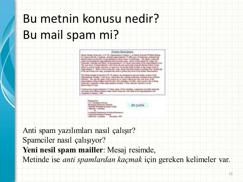 Bu metnin konusu nedir? Bu mail spam mi? Anti spam yazılımları nasıl çalışır? Spamciler nasıl çalışıyor? Yeni nesil spam mailler: Mesaj resimde, Metin