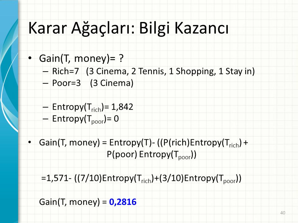Karar Ağaçları: Bilgi Kazancı Gain(T, money)= ? – Rich=7 (3 Cinema, 2 Tennis, 1 Shopping, 1 Stay in) – Poor=3 (3 Cinema) – Entropy(T rich )= 1,842 – E