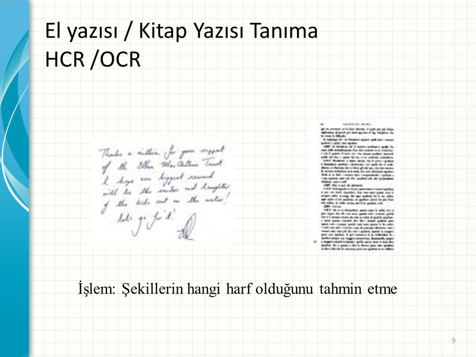 El yazısı / Kitap Yazısı Tanıma HCR /OCR İşlem: Şekillerin hangi harf olduğunu tahmin etme 9