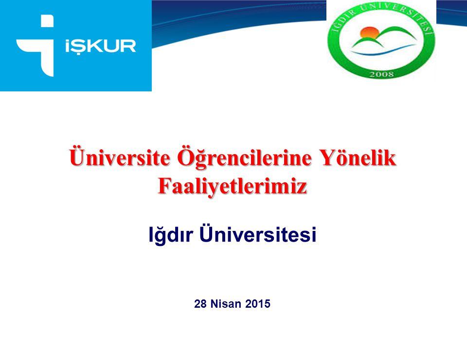 . Üniversite Öğrencilerine Yönelik Faaliyetlerimiz Iğdır Üniversitesi 28 Nisan 2015