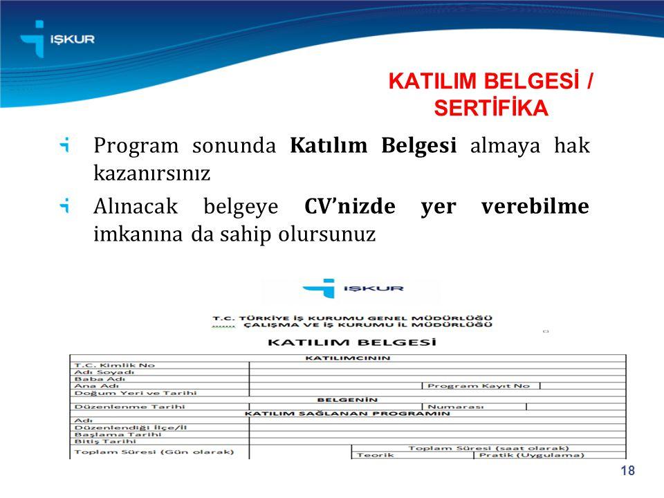 KATILIM BELGESİ / SERTİFİKA Program sonunda Katılım Belgesi almaya hak kazanırsınız Alınacak belgeye CV'nizde yer verebilme imkanına da sahip olursunuz 18