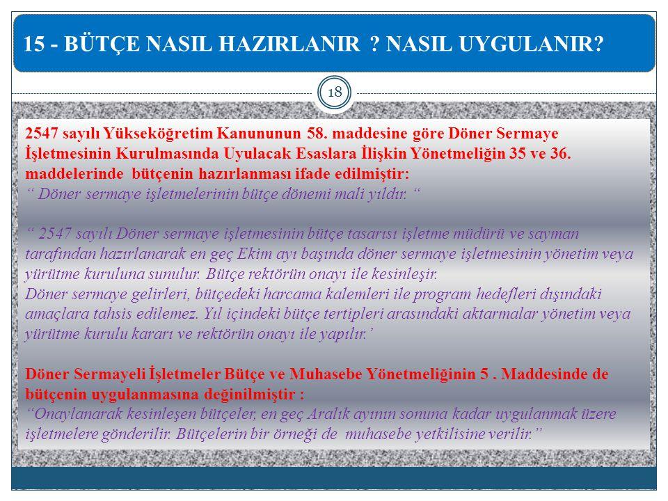 2547 sayılı Yükseköğretim Kanununun 58.