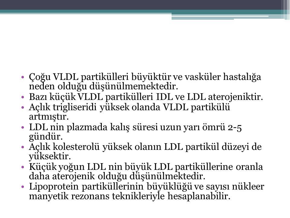 Çoğu VLDL partikülleri büyüktür ve vasküler hastalığa neden olduğu düşünülmemektedir. Bazı küçük VLDL partikülleri IDL ve LDL aterojeniktir. Açlık tri