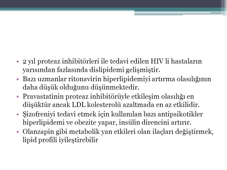 2 yıl proteaz inhibitörleri ile tedavi edilen HIV li hastaların yarısından fazlasında dislipidemi gelişmiştir. Bazı uzmanlar ritonavirin hiperlipidemi