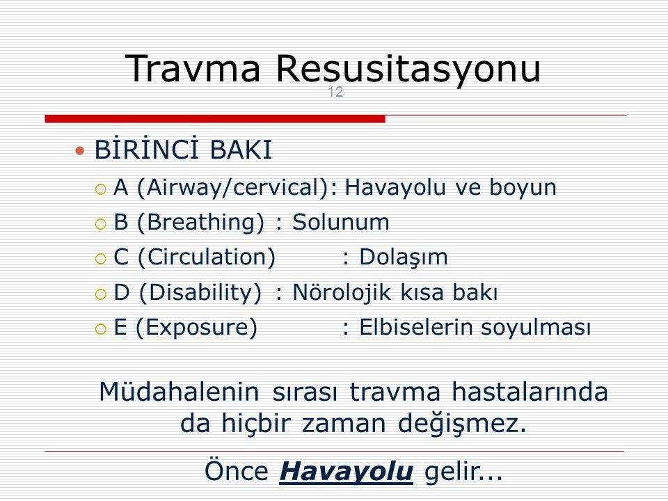 Travma Resusitasyon 11 Klinik yaklaşım:  Birinci Bakı: A B C nin sağlanması  Ani ve yaşamı tehdit eden durum için  İkinci Bakı: Top to Toe Tepeden